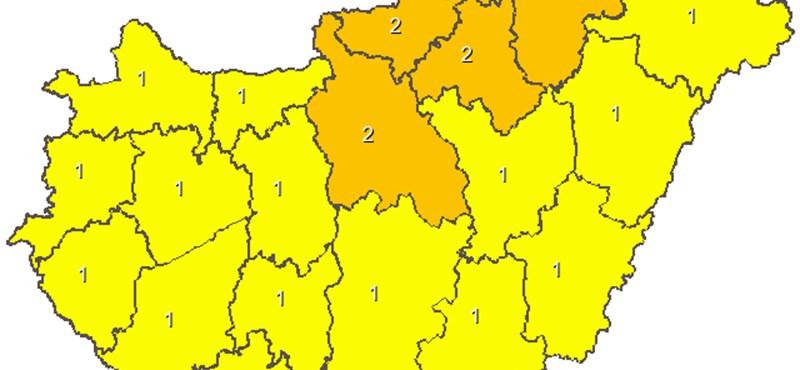 Térkép: Az egész országra figyelmeztetést adtak ki