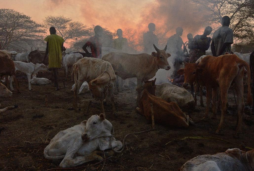 afp.15.03.07. - Nyal, Dél-Szudán: A Nuer törzs marhapásztorainak tábora a dél-szudáni Nyal környékén - 7képei
