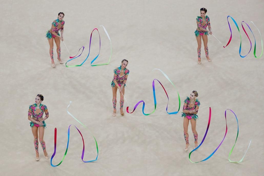 afp.16.08.21. - Sorozatban ötödször nyerte a ritmikus gimnasztikázók olimpiai csapatversenyét Oroszország. olimpia,olimpia 2016,riói olimpia 2016