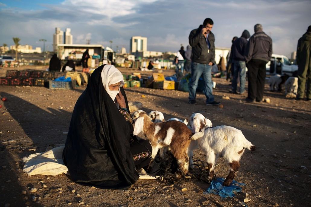 hét képei nagyítás 1202-1207 - 2013.12.05. Izrael, Beersheva, beduin asszony, bárány