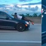 Videó: 110-nél, autópályán, a motorháztetőn hasalva mobilozott egy férfi
