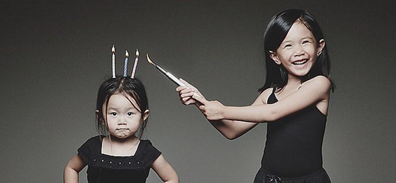 Több mint cuki: az apuka kislányait fotózza haláli pózokban