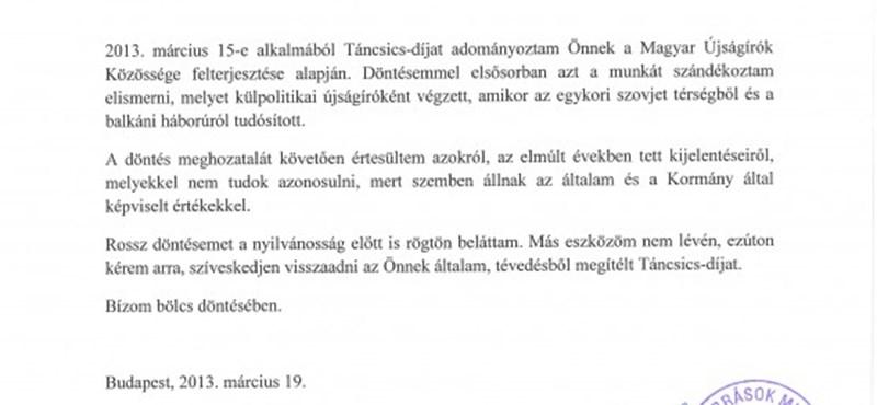Balog: adja vissza Szaniszló a Táncsics-díjat