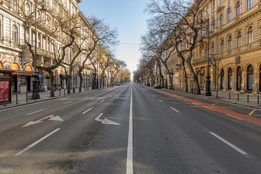 map.20.03.28. Kijárási tilalom első napja üres város kiürült Budapest