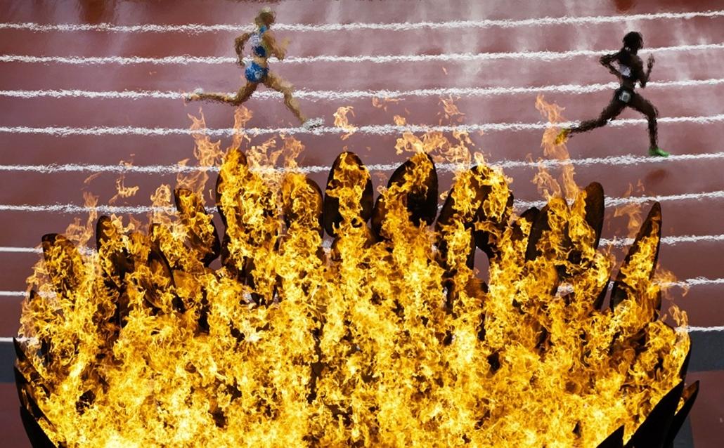 Futók az olimpiai fáklyák előtt