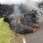 Drónvideón a hawaii vulkán megkövült lávája