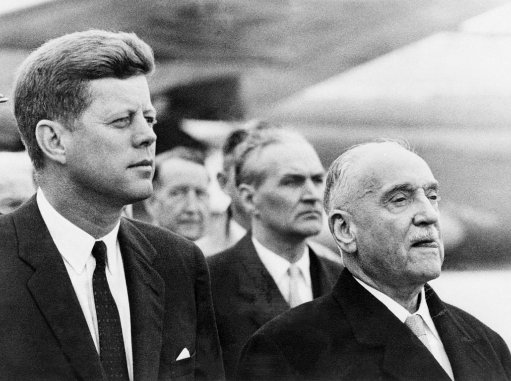 1961.06.04. - Bécs, Ausztria: Adolf Schärf, az Osztrák Köztársaság elnökével - John F. Kennedy, John Fitzgerald Kennedy