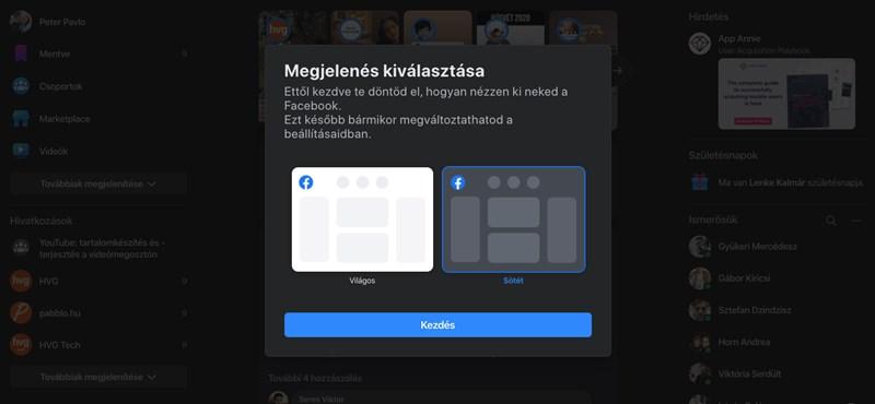 Itt tudja átkapcsolni a Facebookját az új kinézetre