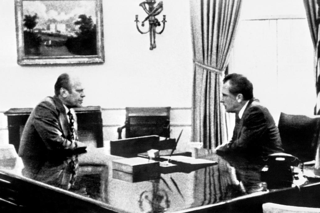 1974.08.07. - Nixon és Gerald Ford a Fehér Ház ovális irodájában - Nixonnagyitas