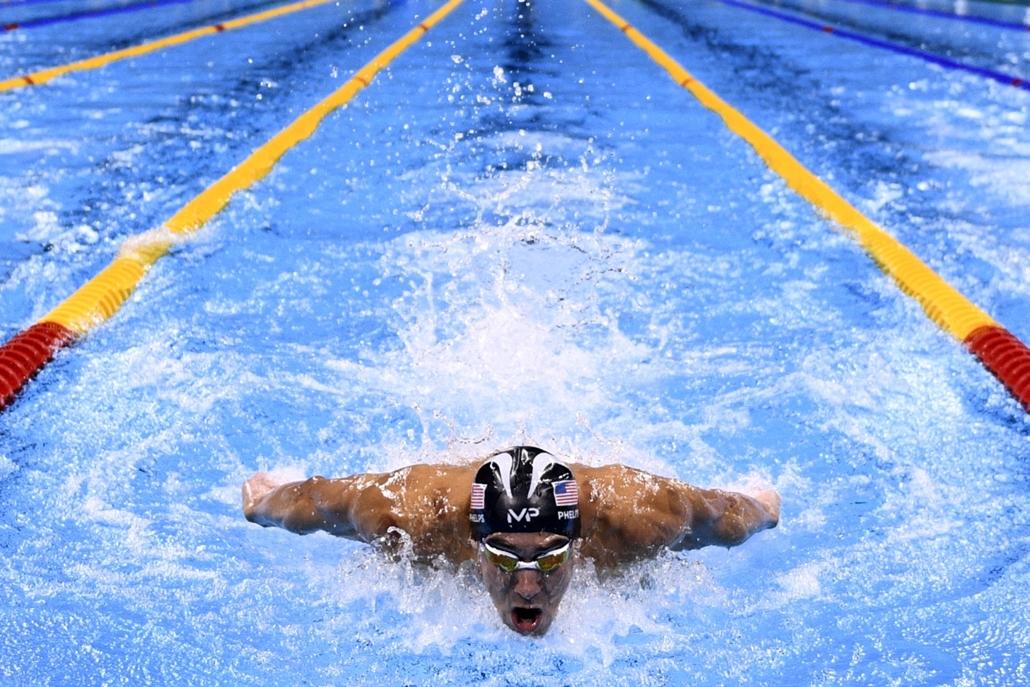 afp.16.08.10. - Michael Phelps a férfi 200 méteres vegyesúszás elődöntőjében augusztus 10-én. - olimpia, riói olimpia 2016, olimpia 2016