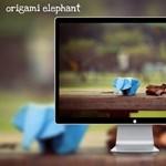 Origami elephant: őszi háttérkép, papír elefánttal