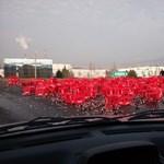 Kólatenger borított be egy körforgalmat Baranyában – fotó