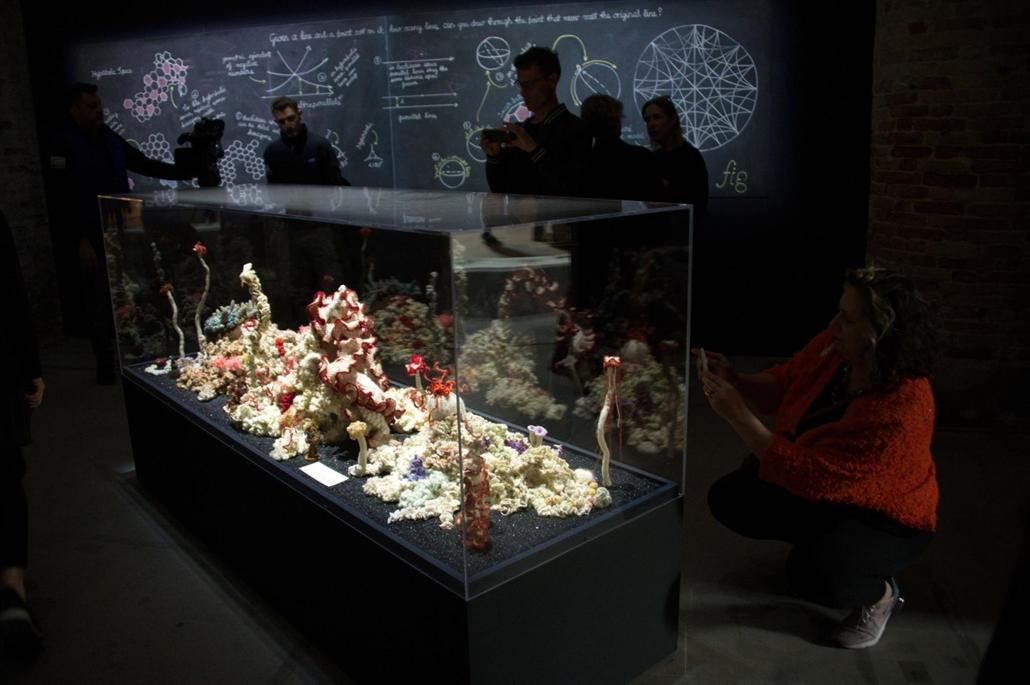 kka. Nagyítás 58. Velencei Biennálé Christine és Margaret Wertheim az igazihoz megtévesztően hasonló tenger alatti élővilágot hozott létre rossz magnószalagokból, műanyag kupakokból és egyéb hulladékból.