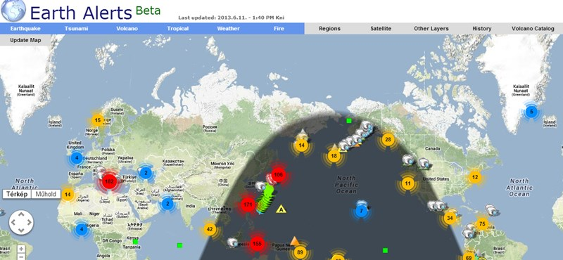 Itt láthatja, hol van éppen természeti katasztrófa a Földön