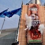 Környezetvédők jelképesen felgyújtották az Európai Bizottság székházát