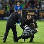 Fotó: rendőrök teperik le a moldáv-magyar meccsre berohanó szurkolót