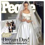 Fotó: Angelina Jolie menyasszonyi ruháját összefirkálták a gyerekei