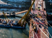 Összeért a 7200 tonnás acélszerkezetű új komáromi Duna-híd – fotók