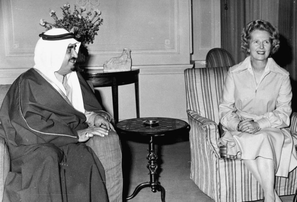 London - Szaúd-Arábia királyával, Fahd bin Abdul Azizzal a Downing Street 10 alatt - Margaret Thatcher