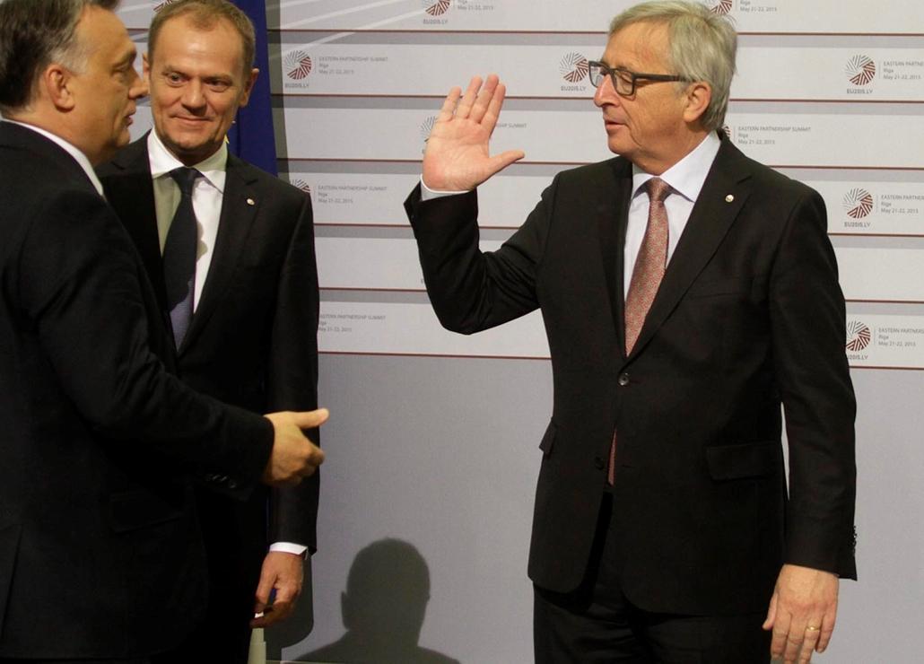 20190320001 mti.15.05.22. pofon Orbán Viktor és Jean-Claude Juncker Rigában az EU-tagállamok és a keleti partnerségi programban részt vevő országok kétnapos csúcstalálkozója második napján, 2015. május 22-én