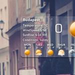 Ízléses, üvegfelületet utánzó óra és időjárás-előrejelző modul a Windowsra