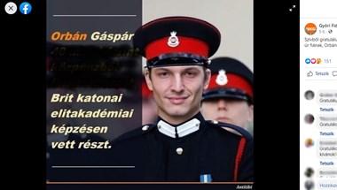 Amatőr módon módosított gyalázkodó képpel gratulál a katonai elitképzéshez Orbán Gáspárnak a győri Fidesz