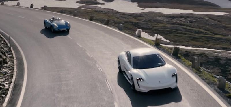 Lélegzetelállító drónvideó: egy régi és egy új Porsche kergetőzik az Alpokban