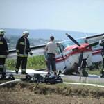 A Kőérberki úton állt meg a budaörsi reptéren landoló kisgép - fotó