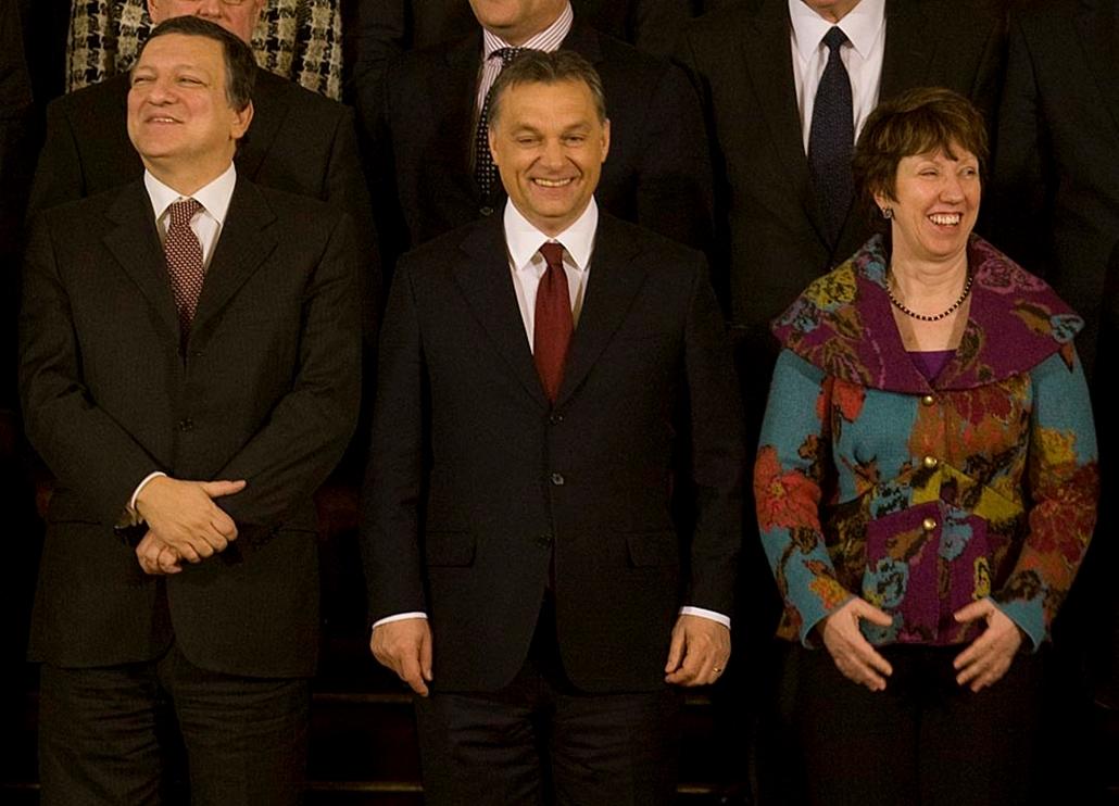 Eu-Magyar Elnökség Együttes Ülés 2011.01.07 Orbán Viktor és Jose Barosso, Catherine Ashton