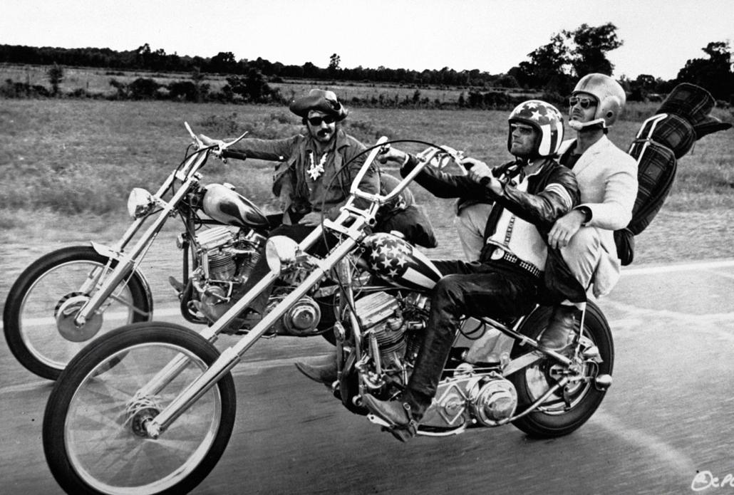 afp.1969. - Dennis Hopper, Peter Fonda és Jack Nicholson a Szelíd motorosok című filmben 1969-ben. - Jack Nicholson nagyítás