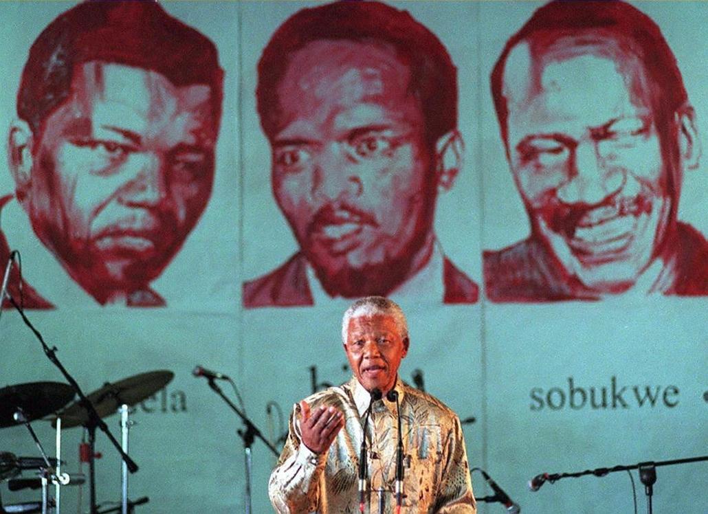 afp.97. - A már elnök Nelson Mandela egy fokvárosi nagygyűlésen - Apartheid nagyítás