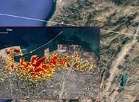 A NASA űrből készített felvétele mutatja igazán, mekkora pusztításon van túl Bejrút