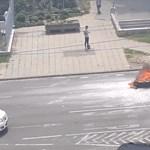 Menet közben lángra kapott egy robogó, füst borította be a Lehel teret – videó