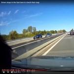 Hirtelen megállt az autópályán a belső sávban, milliméteren múlt a baleset - videó