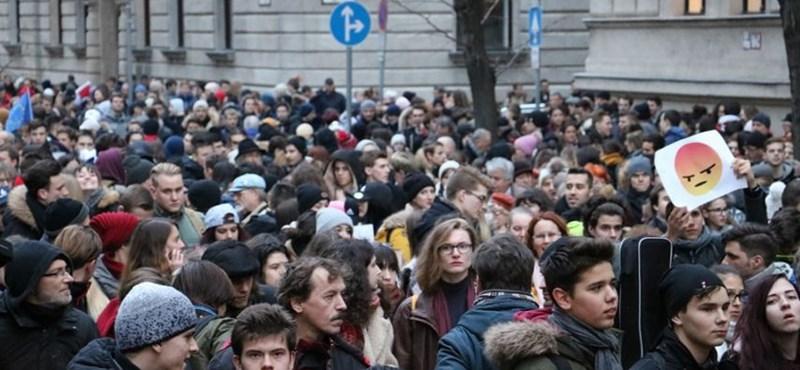 """""""A mai oktatás egy zombigyár"""": így tüntettek a diákok a Parlamentnél"""
