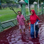 Vérvörös áradat zúdult egy indonéz falura