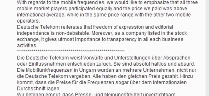 Elege lett a Deutsche Telekomnak, Facebook-kommentben szólaltak meg