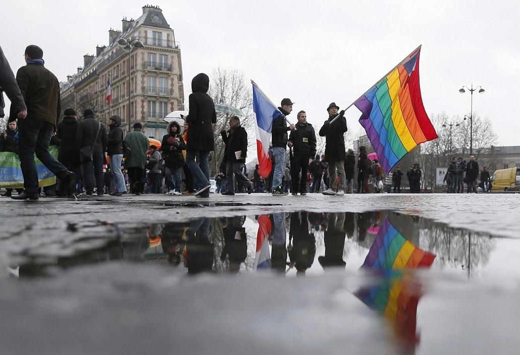 Melegházasság elleni tüntetés Franciaországban, január