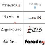 Ilyen logójuk lenne a nagy tudósoknak, már ha a tudósoknak lenne logójuk