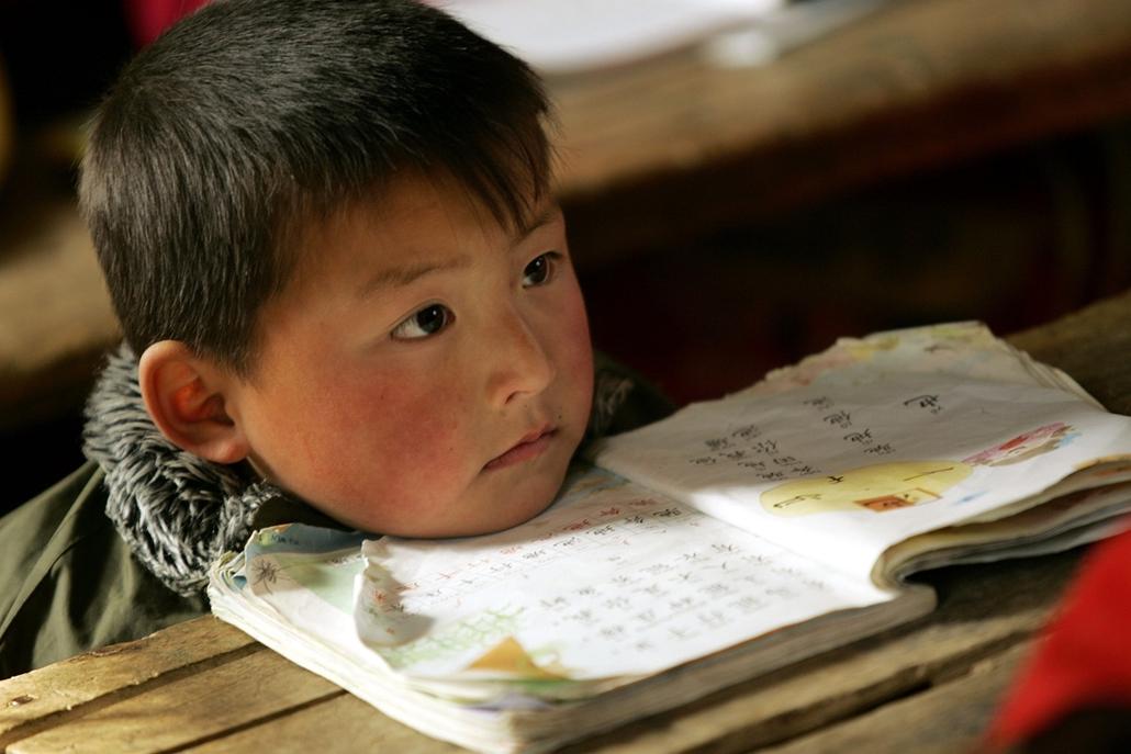 Kína - feszült figyelem: oktatás egy vidéki általános iskolában Anhui tartományban - könyv világnapja nagyítás