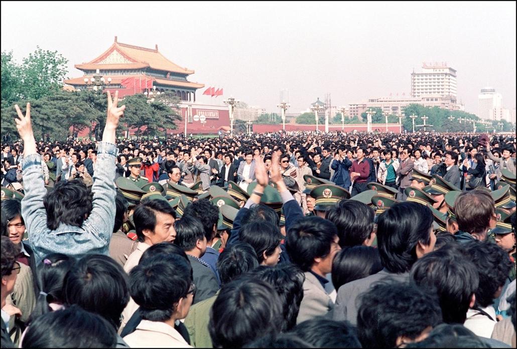 afp Tienanmen tér NAGYÍTÁS Tüntetők és rendőrök Tienanmen tér 1989. április 27