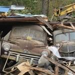 Tucatnyi klasszikus autót mentettek ki egy elhagyott pajtából, ami összedőlt – képek