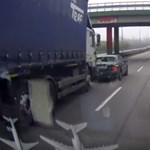 Rossz vége lett a büntetőfékezésnek, a teherautó nem vette a lapot – videó