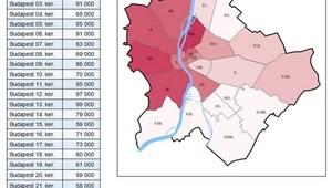 Térkép: ennyiért lehet lakást bérelni Budapesten
