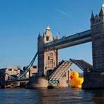 Fotó: gigantikus gumikacsa bénította meg Londont