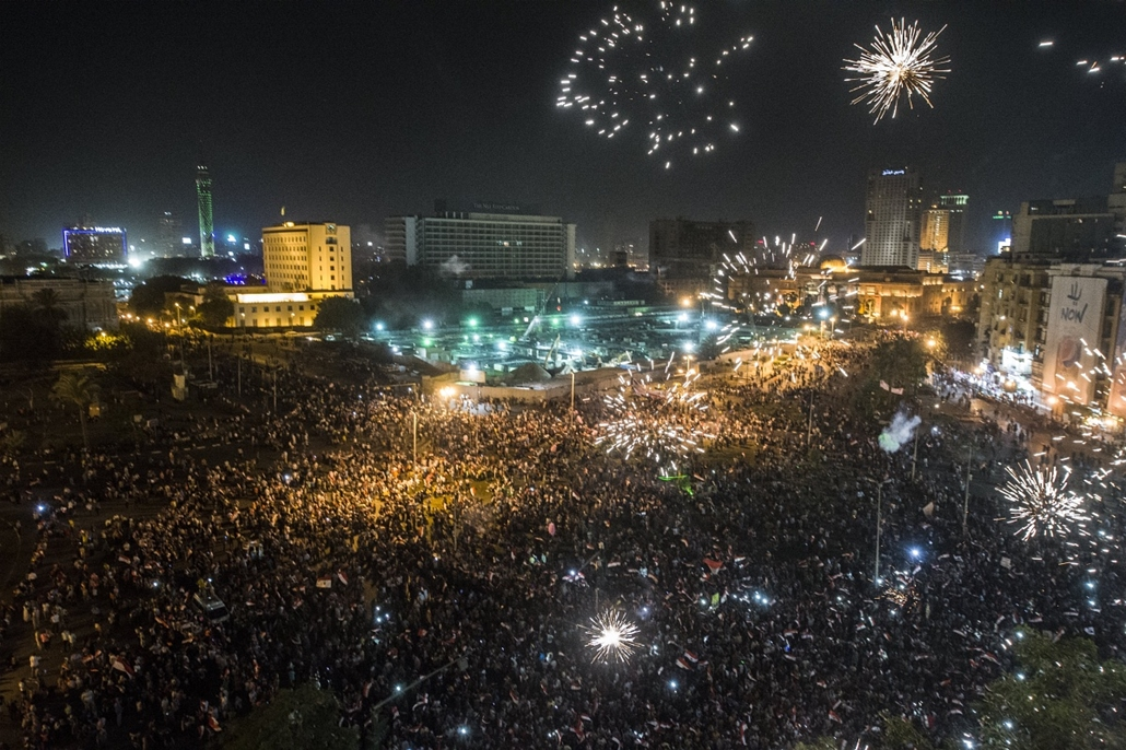 afp.14.06.03. - Kairó, Egyiptom: választási ünnepség a Tahrír téren Abdel-Fattáh esz-Szíszi 96,9 százalékos választási győzelme után . : yyyyy - 7képei nagyítás