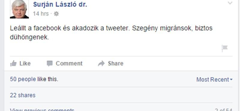 Surján nem bánta meg a dühöngő menekültes posztját