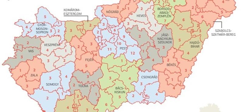 választókerületek térkép Itthon: Térkép: ilyen választókerületeket rajzolt a Fidesz   HVG.hu választókerületek térkép