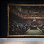 In parliament, Banksy's image was sold at record prices