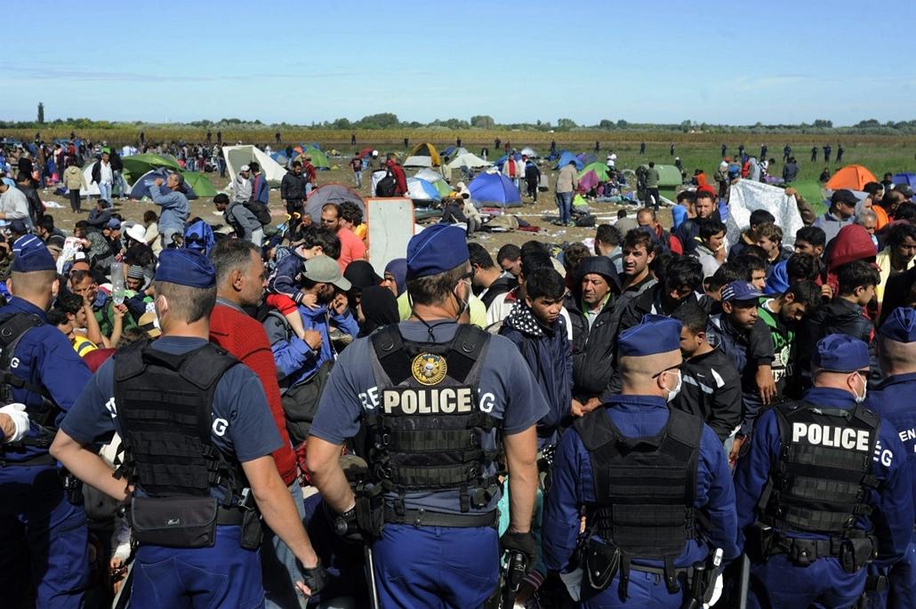 mti. Röszke, menekültek, bevándorlók, migráns, 2015.09.07. Illegális bevándorlás - Határsértők Csongrád megyében - Rendőrök határsértőket őriznek Röszke külterületén, a Dugonyi úton kialakított rendőrségi gyűjtőponton 2015. szeptember 7-én.